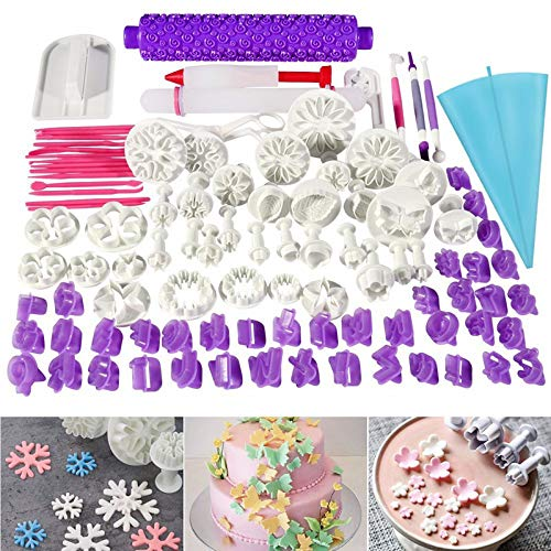 Alexsix Kuchenformen, 96 Teile/Set Kuchen-Dekorationswerkzeuge Kits Formen Ausstechformen Rolling Pin Glätter Embosser Schere Backgeschirr Shop Rolling Pin