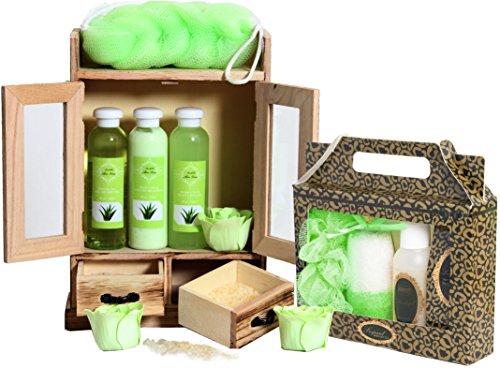 BRUBAKER set benessere beauty in comodo armadietto in legno - 15 pezzi al profumo di aloe vera e vaniglia