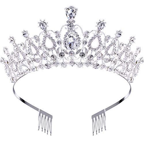 Makone Tiara Kristallkrone mit Strass-Kamm für Bridal Crown Hochzeit Proms Festzüge Prinzessin Parties Geburtstag (Kamm Stil-5)