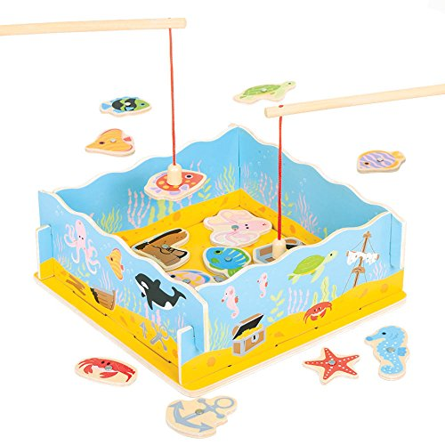 Bigjigs Toys Magnetic Wood Fishing Game with Wooden Base - Suitable for 3+ Years