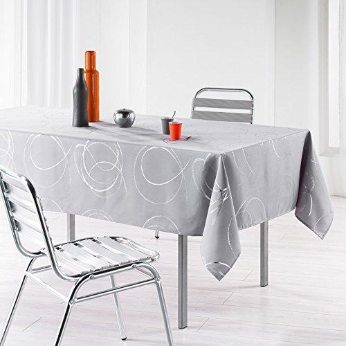 L'harmonie du décor  - 1721578, tovaglia rettangolare , 150 x 240 cm , bully , poliestere stampato argento , grigio
