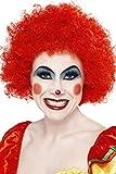 Smiffys 42089 Déguisement Adulte Perruque de Clown Fou, Rouge, Taille Unique