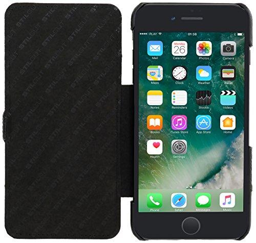 StilGut Book Type Case Con clip e funzione supporto, custodia in pelle cover per iPhone 8 Plus e iPhone 7 Plus (5,5) Chiusura a libro Flip-Case in vera pelle, Nero Nero Chester