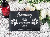 CHRISCK design Grabstein mit Gravur Gedenktafel 100% Kratzfest und witterungsbeständig Hunde Katze Grabplatte Andenken (30x20 cm Motiv Tatzen)