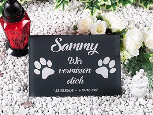 CHRISCK design Grabstein mit Gravur Gedenktafel Grabplatte Edel 100% Kratzfest und witterungsbeständig Hunde Katze Grabplatte Andenken versch. Größen ab 20x15 cm Motiv Tatzen