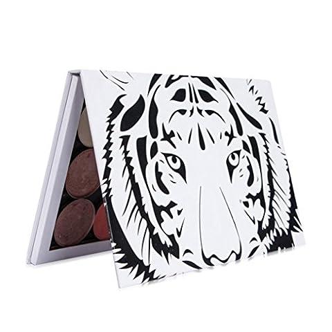 Gaddrt Palette de maquillage magnétique vide Pate de palette Tête de tigre Grande palette de DIY (Multicolore)