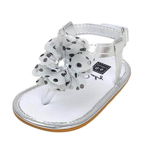 Igemy 1Paar Baby Blume Sandalen Kleinkind Prinzessin erste Wanderer M盲dchen Kinder Schuhe Silber