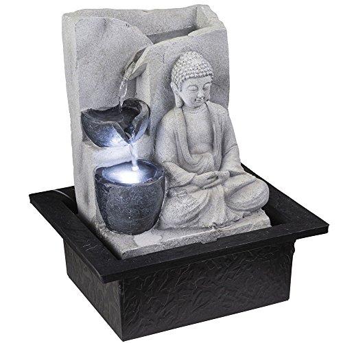 Globo LED Tisch Spring Brunnen Buddha Design Wasser Spiel Wohn Zimmer Dekoration grau 93019 (Brunnen Tisch)