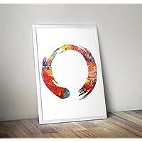 zen circle Inspired Watercolor Enso Poster Print regalos - Carteles de TV/películas alternativas en varios tamaños (Marco no incluido)