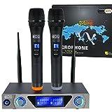 Tonor VHF Profesional Dual Micrófono Inalámbrico Dual con Receptor de Micrófono 2 Micrófono de Mano para la Reunion, Fiesta y Karaoke