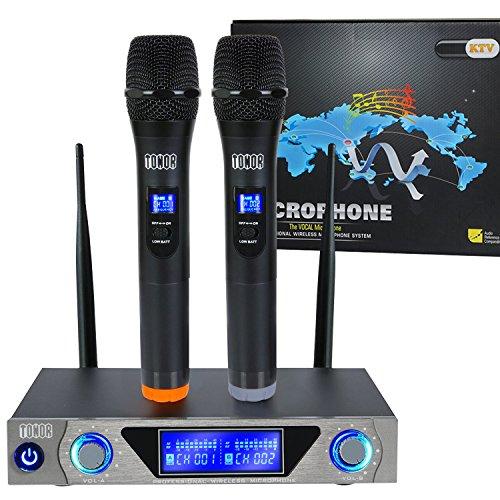 Tonor Microphone sans Fil de Système VHF Portable Micro à Main avec Double Microphones Dynamiques et Écran LCD pour Karaoké Réunion Fiesta