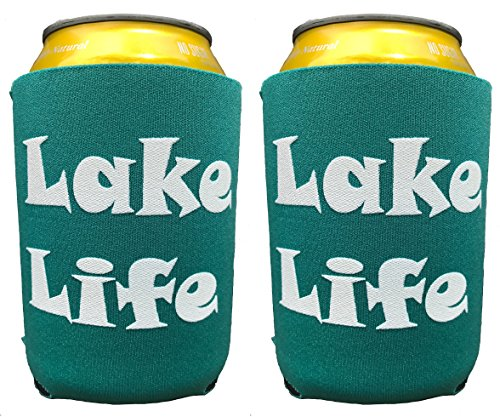 Set von 2Agua See Leben kann Kühler-What Happens At The Lake Stays At The Lake Isolierte Neopren Kann Ärmeln-Kann Cozy-Bier kann Huggers-hergestellt in den USA