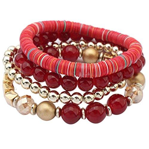 Armband Damen Armbänder DAY.LIN Frauen 4 Stück bunte Perlen Multilayer Bangle Handmade Armbänder Florid Cool (rot) Thomas Perlen Spielzeug