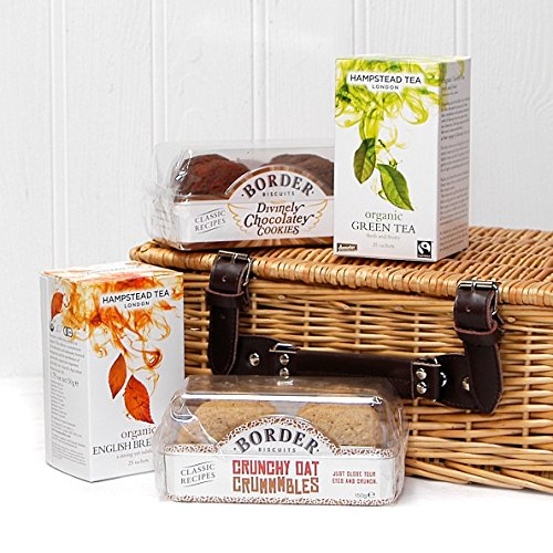 Tea and Biscuit Treats Wicker Gift Basket Hamper - Gift Ideas for Valentines, Mother's Day, Birthday, Congratulations, Business and Corporate Presents