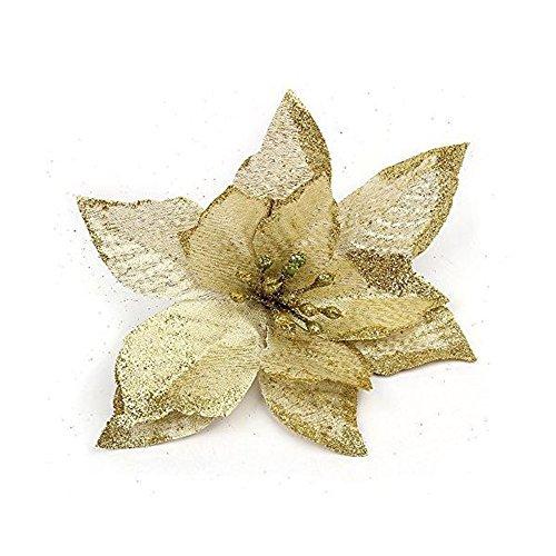 Moonvvin 20pz 12,7cm glitter fiori artificiali per matrimoni, natale, festa, decorazione, gold, 13 cm