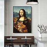 Chihie Mona Lisa e Cat Pittura a Olio su Tela Pittura Poster Stampe Immagini di Arte della Parete per Soggiorno Arredamento Camera da Letto Decorazione della parete-20X25cm_No_Frame