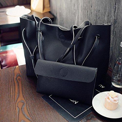 bc528b233b58b ... Vintage Handtasche PULeder Frauen Elegant Umhängetasche Groß Shopper  Henkeltasche Ledertasche Mädchen Schultertaschen Damen Tasche Brieftasche  Schwarz
