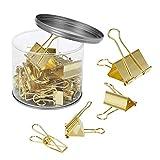 cruoda Binder Clips, Gold, verschiedene Größen, 50Clips in Dose