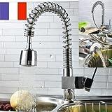 Amzdeal® Contemporaine Robinet de cuisine chrome Mitigeur avec Douchette extractible pivotant Robinet évier
