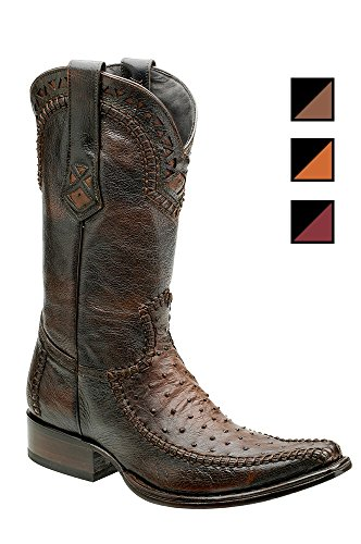 Cuadra Ostrich Leather Cowboy Boots for Men Kango Tabac