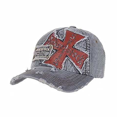 WITHMOONS Casquette de Baseball Knights Cross Patch Baseball Cap Vintage Distressed Trucker Hat AC1173 (Grey)
