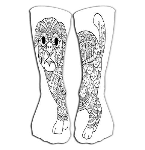 ouyjian Outdoor Sports Men Women High Socken Stocking line Art Design Cute Pug Dog Design Element Design Adult Coloring Book Page Tile Length 19.7