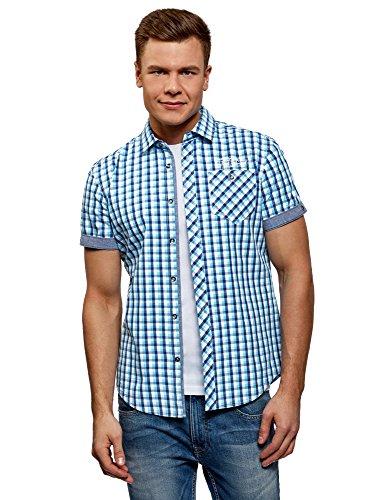 oodji Ultra Hombre Camisa a Cuadros con Dobladillos en Las Mangas, Azul, сm 41 / ES 50 / M