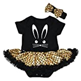 Petitebelle Easter Bunny Face Black Bodysuit Gold Scales Mermaid Tutu Nb-18m (6-12 Months)