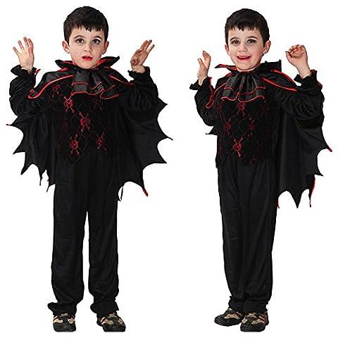 Halloween Vêtements pour Enfants, Moon mood® 130-140cm Noir Bat Chauve Souris Vêtements Costume Cosplay accessoires fixés pour les Enfants Terreur La Crainte Props pour Halloween Carnaval Anniversaire Cosplay Partie Hantée Bar Ménage Partie Extérieure en Plein