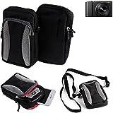 K-S-Trade Für Panasonic Lumix DMC-TZ101 Gürtel Tasche Umhänge Tasche Fototasche Schutz Hülle für Panasonic Lumix DMC-TZ101, schwarz-grau + Extrafach mit Platz für Powerbank, Festplatte etc. |