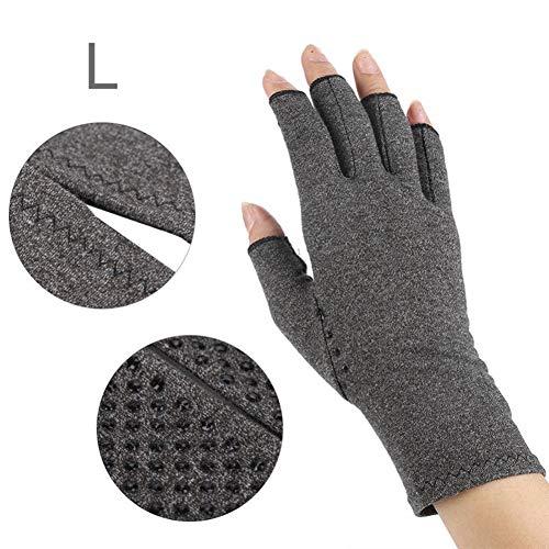 Arthritis Handschuhe (Paar) - rheumatische Arthritis Kompressionshandschuhe für Schmerzlinderung, Gaming Tippen, Fingerlose Handschuhe für Männer und Frauen (Grau, L) -