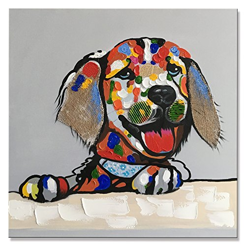 YI Hui Modern gerahmt Dog handgefertigt Öl Gemälde Animal Bilder auf Leinwand Art Wand fertig zum Aufhängen für Schlafzimmer Home Dekorationen, canvas, 30W/30L