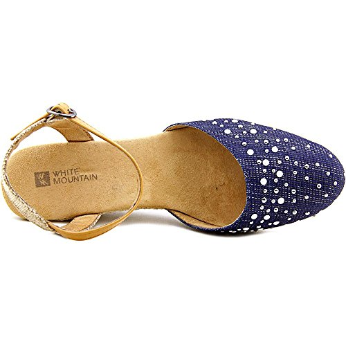 White Mountain Espadrilles Femmes Toile Sandales Compensés Saltwater Dk Blue