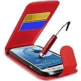 Supergets H�lle f�r Samsung I9300 Galaxy S III S3 Imitat Leder Tasche H�lle Schale in Rot, Mini Eingabestift, Schutzfolie, Zubeh�r Set