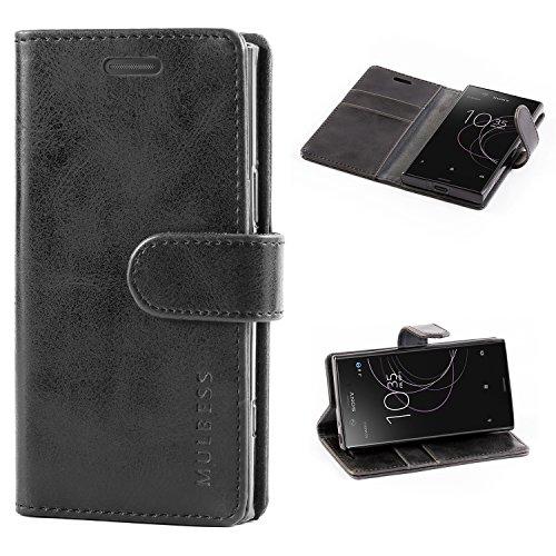 Mulbess Handyhülle für Sony Xperia XZ1 Compact Hülle, Leder Flip Case Schutzhülle für Sony XZ1 Compact Tasche, Schwarz