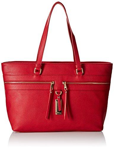 Pollini Studio Shopping Orizzontale con Zip, Rosso, 46 cm