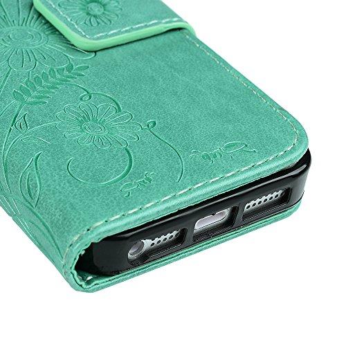 iPhone SE/iPhone 5 5s Hülle Mavis's Diary Tasche Flip Cover PU Ledertasche Magnetverschluss Schutzhülle Case Telefon-Kasten Handyhülle Standfunktion Euit Fall Ameise Chrysantheme Farn Schmetterling Grün