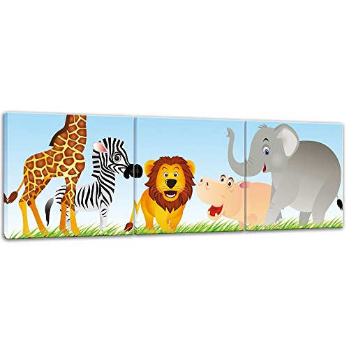 (Bilderdepot24 Kunstdruck - Kinderbild Tiere Cartoon VI - Bild auf Leinwand - 120x40 cm dreiteilig - Leinwandbilder - Bilder als Leinwanddruck - Wandbild Kinder - Freundliche Tiere in der Savanne)