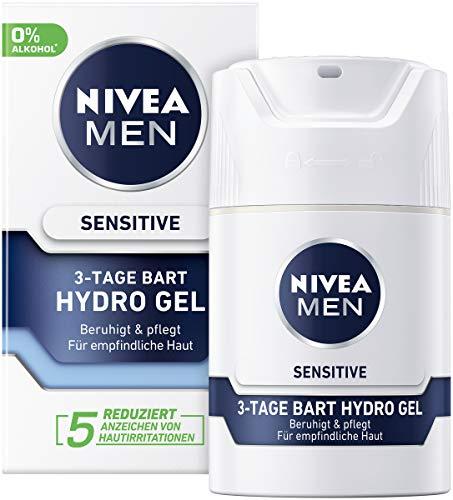 Nivea Men Sensitive 3-Tage Bart Hydro Gel im 2er Pack (2 x 50 ml), Feuchtigkeitscreme für Männer mit empfindlicher Haut & 3-Tage Bart, beruhigende Gesichtscreme