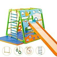 Klettergerüst Giraffe Multitalent Holz inkl. Rutsche Premium Komplettset Kletterturm Spielturm Indoor Turngerät Kinderzimmer
