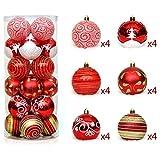 Weihnachten Deko Kugeln Bruchsichere Weihnachtsbaum Anhänger Kugeln Ornaments - 24 Stück rot