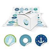 25 kleine weiße Mini Schachtel Box Pappschachtel 8 x 6,5 x 5,5 + 35 maritime blau-türkise Taufe Kommunion-Aufkleber Sticker, Verpackung für Mitgebsel, give-aways, Kinder-Geburtstag Mitgebsel