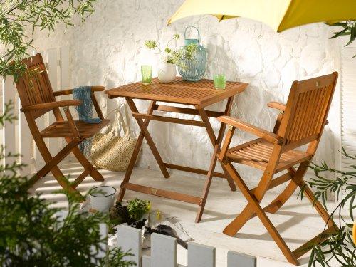 BALKON-SET Gartenmöbel Set 1 Klapptisch + 2 Klappstühle - 2