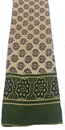 Dress Material Unstitched Cotton Jute Cream Green