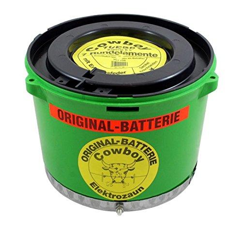 Original Cowboy Weidezaunbatterie 10,5 Volt grün B5 TURBO mit Erdungsplatte, Trockenbatterie, Batterie für Eider Weidezaungerät Bullenschreck - Anschluss mittels Anschlusskabel