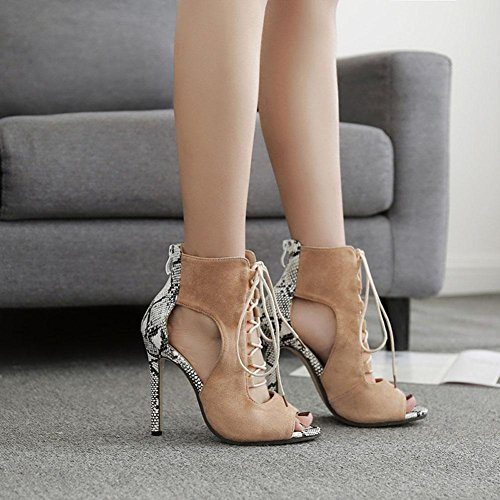 Wywq 2018 Serpentine Suede Stitching Cross Straps Sandales À Talons Hauts Sangle Avant Chaussures Abricot Taille 35-40 Abricot