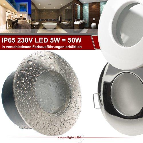 6er Set (6-10er Sets) Decken Einbaustrahler Bad NAUTIC IP65 rund 230V EDELSTAHL OPTIK gebürstet; SMD LED 5,0W = 50W Warm-Weiß; Einbauleuchte für Feuchtraum + Außen