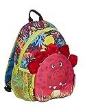 okiedog wildpack junior 86003 Kinderrucksack, Rucksack mit Plüschohren, Kita-Rucksack, Netzaußentaschen, Brustgurt, Dino rot, ca. 25 x 12,5 x 28 cm