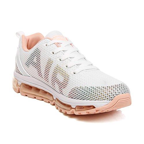 TORISKY Homme Femme Chaussures de Sport Baskets Course Running Sneakers Respirantes et Légères Blanc