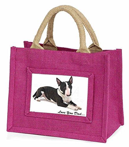 Advanta–Mini Pink Jute Tasche Bull Terrier Hund 'Love You Dad' Little Mädchen klein Einkaufstasche Weihnachten Geschenk, Jute, pink, 25,5x 21x 2cm